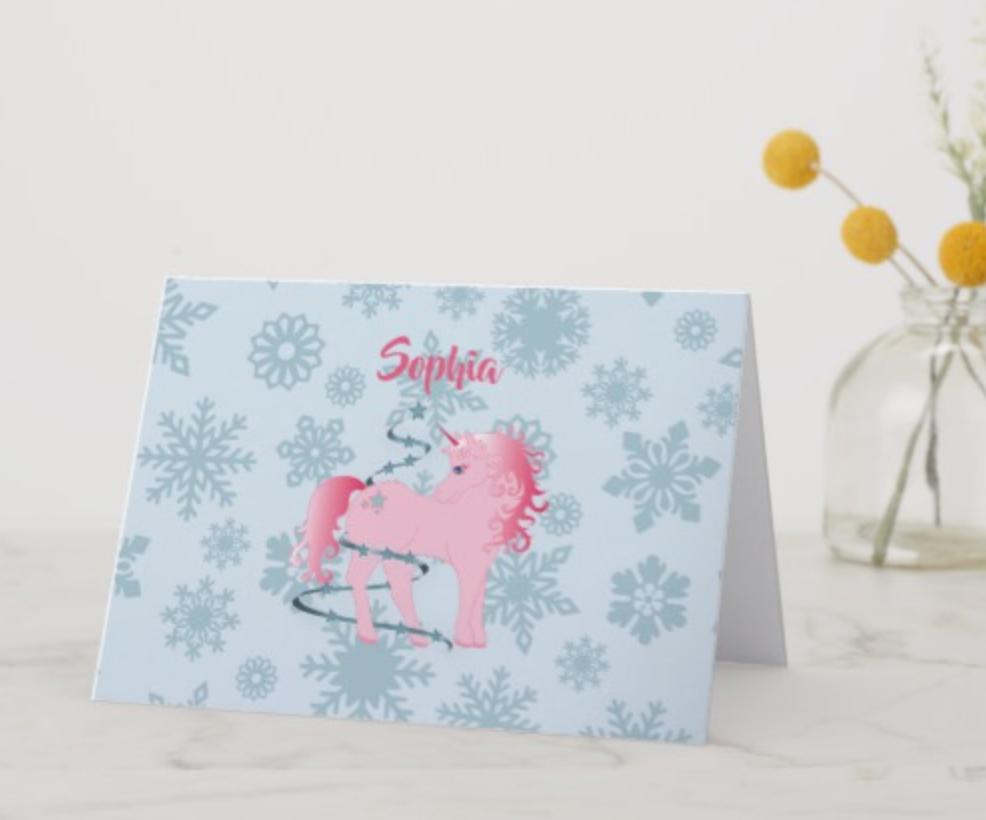 Unicorn Christmas Holiday Greeting card