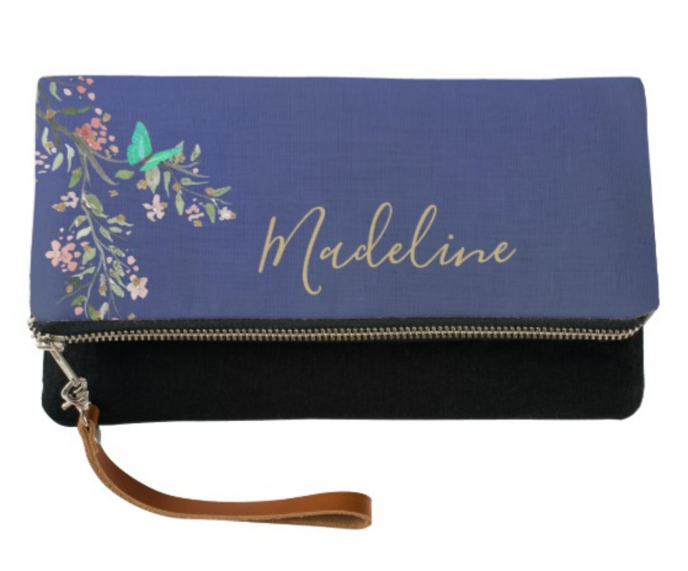 Chinoiserie Floral Blue Elegant Gold  Custom Name Clutch