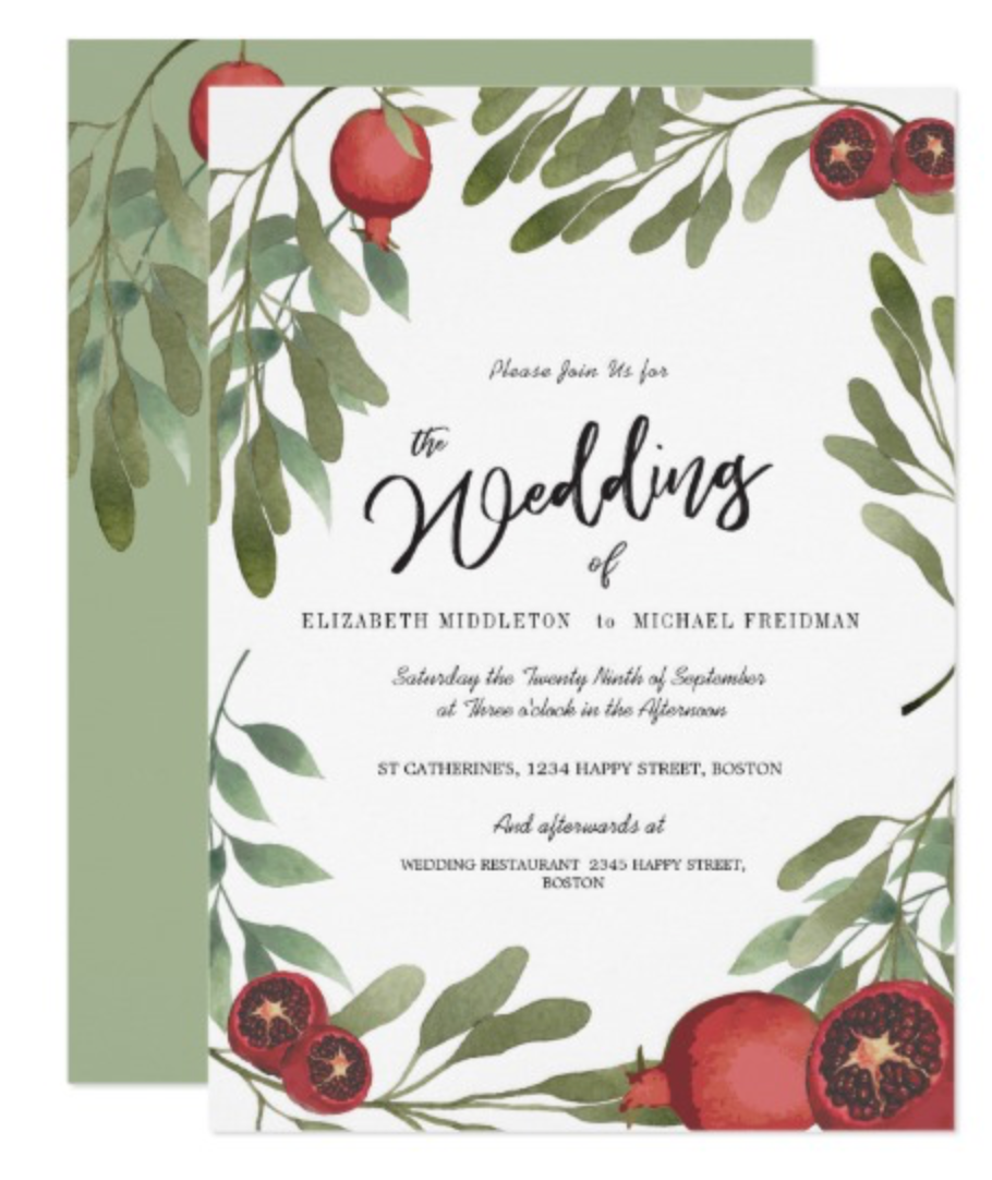 Wedding Burgundy Botanical Boho  Greenery Invitation