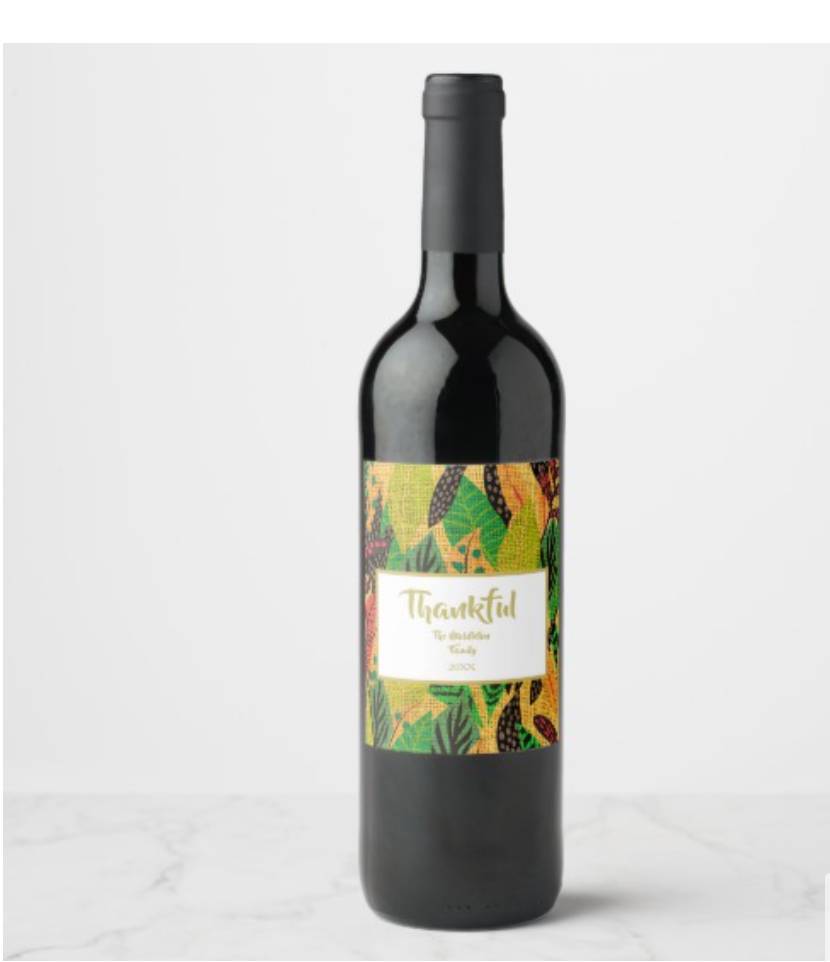 thanksgiving dinner custom family wine label