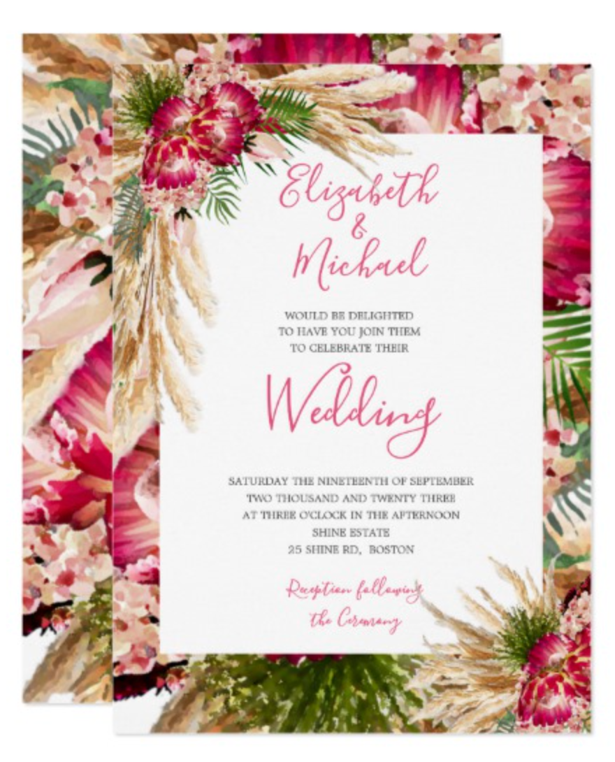christmas wedding rustic pampas grass and protea custom invitation