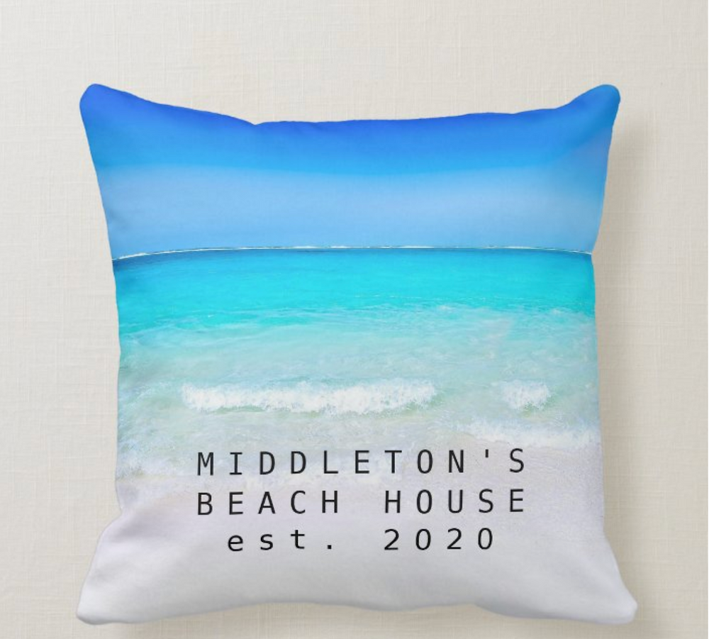 custom family beach house blue ocean zazzle made
