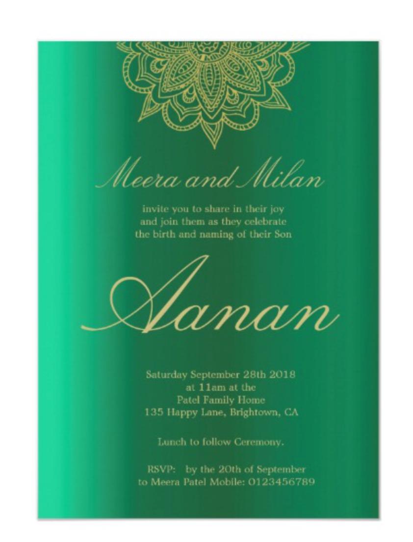 Hindu baby naming Namkaran personal custom invite Zazzle