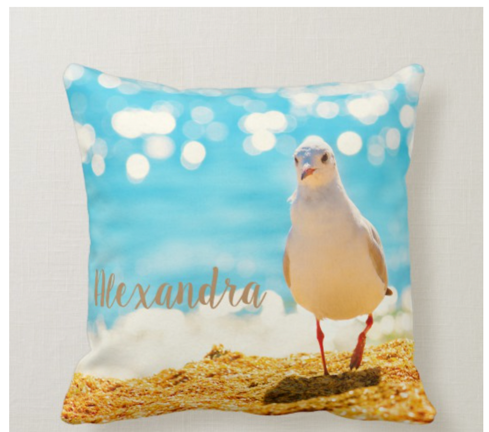 Fun Custom Beach and Seagull Throw Pillow