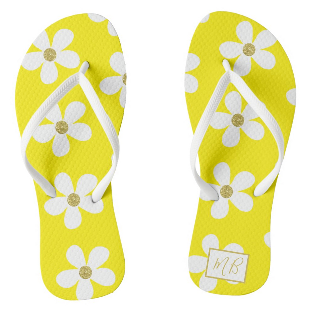 Yellow Daisy and gold Monogram flip flops personal gift