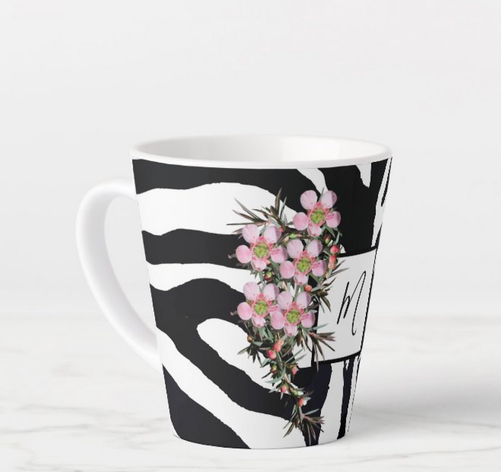 custom monogram coffee mug zebra wildflower Zazzle