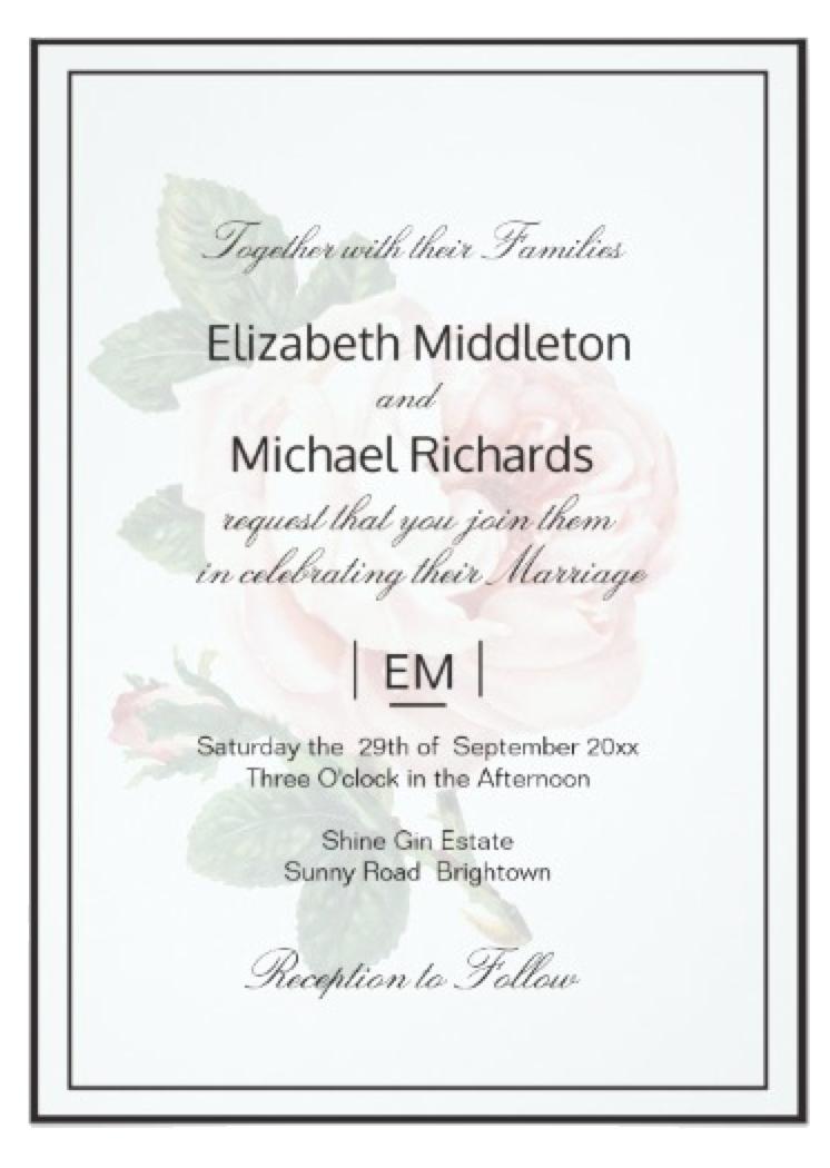 Custom Wedding Invitation , Vintage Rose