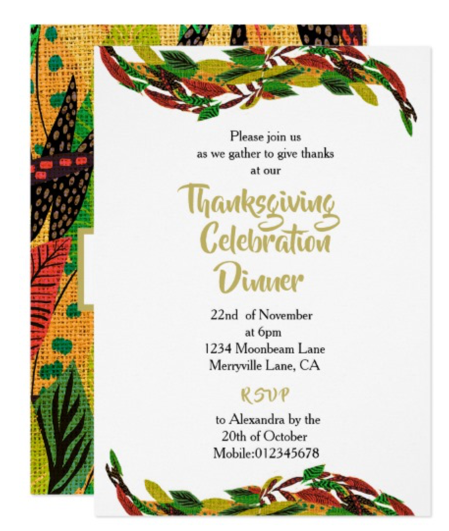 Thanksgiving Dinner Autumn Leaves custom  Invitation