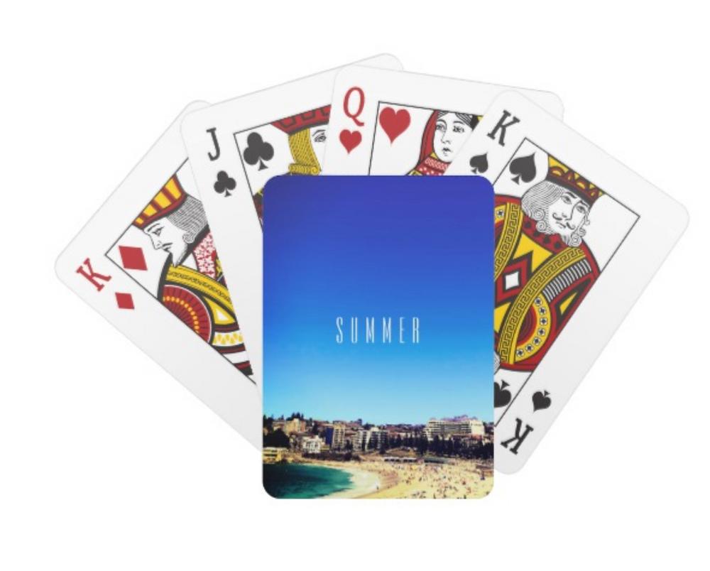 beach scene ocean view summer sky custom gift playing cards on zazzle