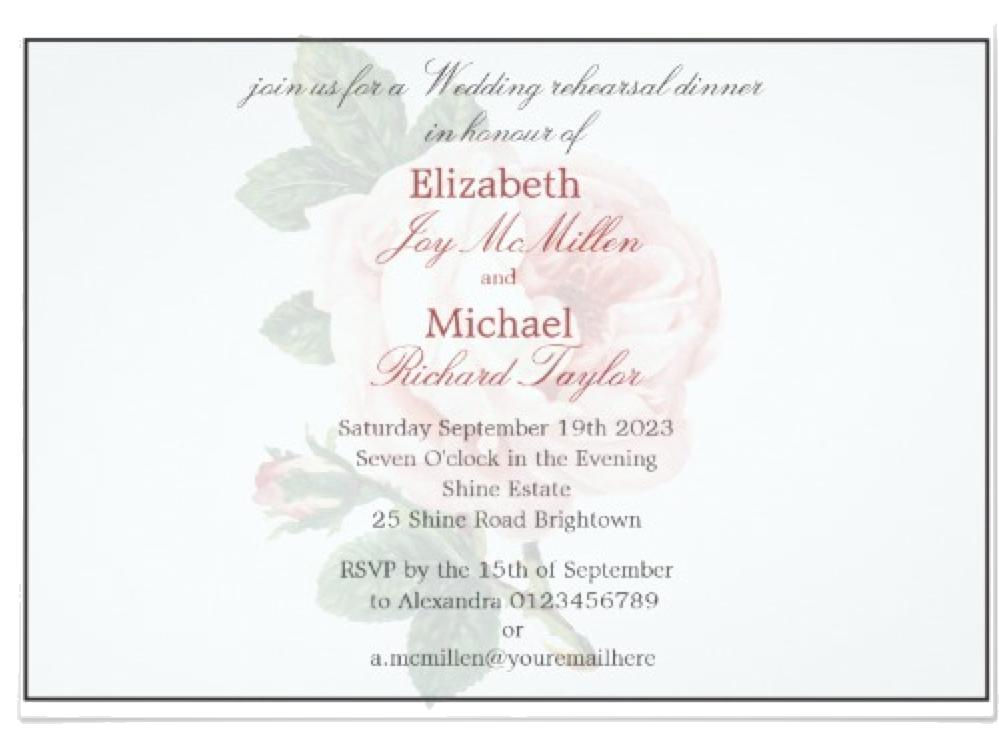 personalized Elegant Vintage Rose Wedding Rehearsal Diner Card