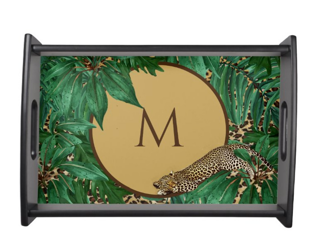 Custom personal monogram tropical leopard print tray zazzle made