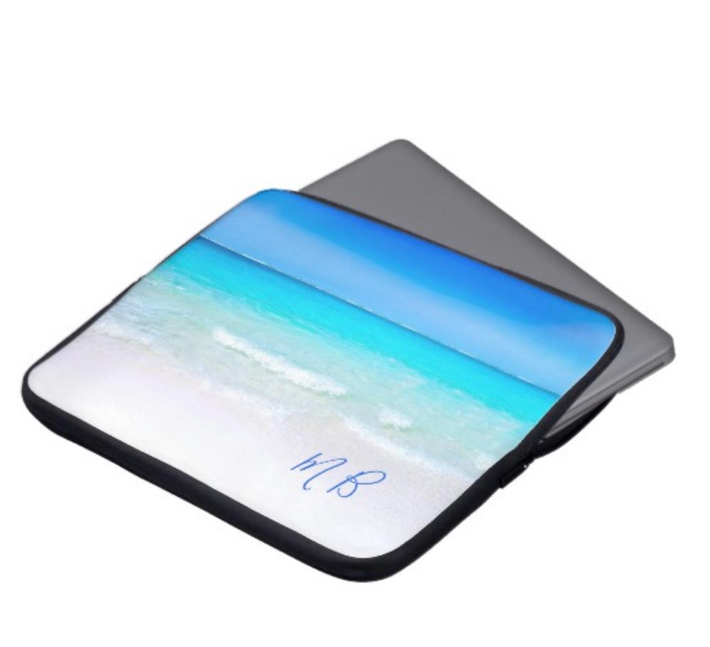 beach scene laptop cover vacation christmas holiday custom monogram gift on zazzle
