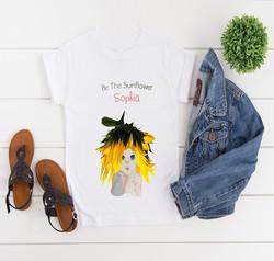 Girls Personal Flowers Sunflower T-Shirt