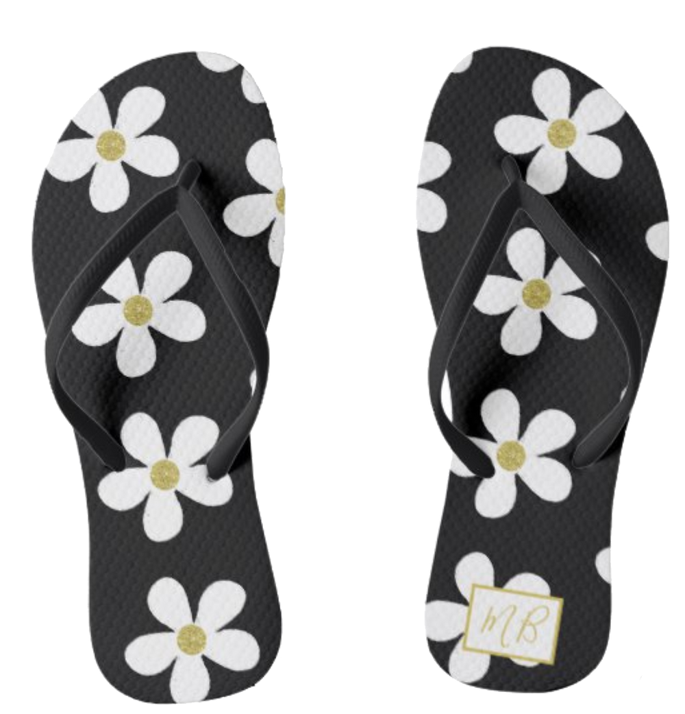 elegant flip flops daisy black and white custom monogram