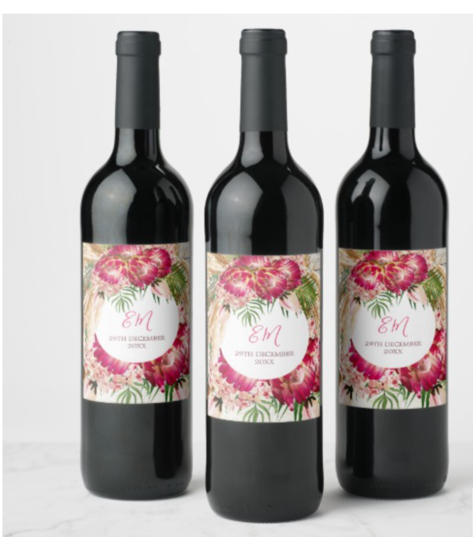 wedding wine custom wine labels protea pampas grass christmas