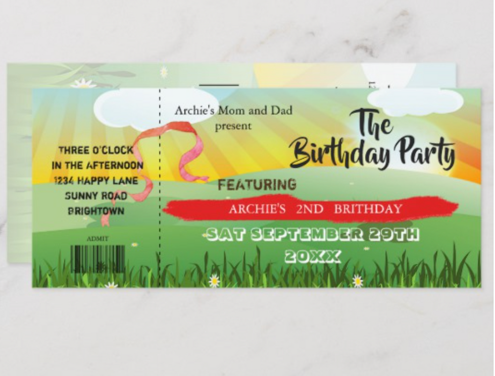 children's custom birthday invitation rustic festival theme