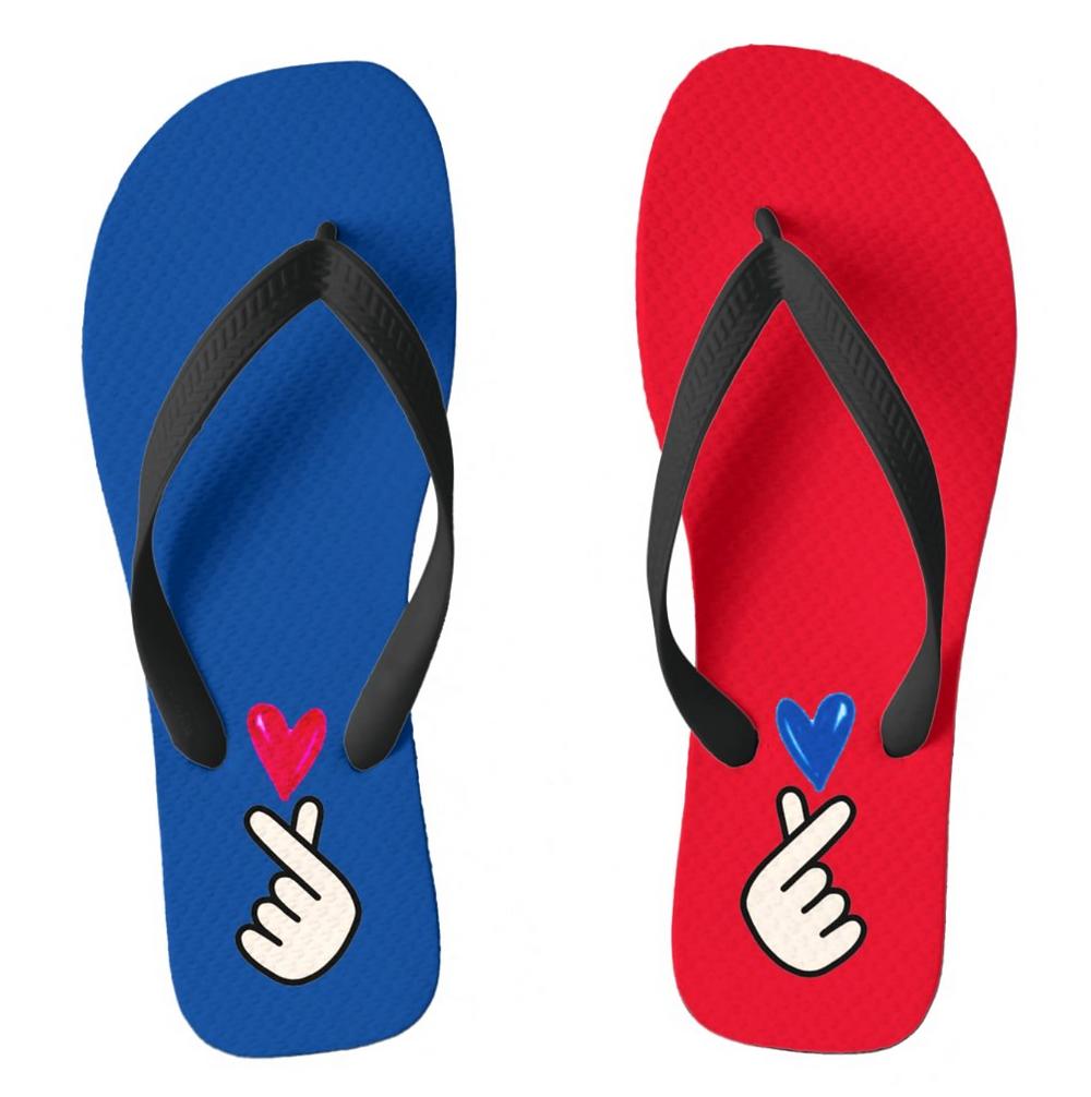 Korean k-pop hand symbol heart red and blue flip flops custom gift