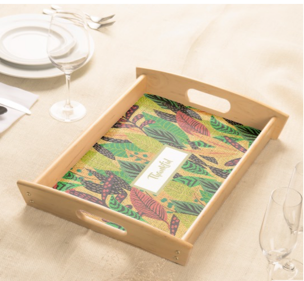 personalize Thanksgiving Rustic  Autumn Leaf  Serving Tray