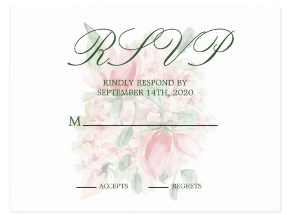 Custom Wedding Elegant wedding RSVP