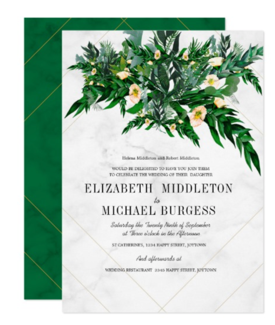 Eucalyptus Foliage  Rustic Greenery  White Invitation