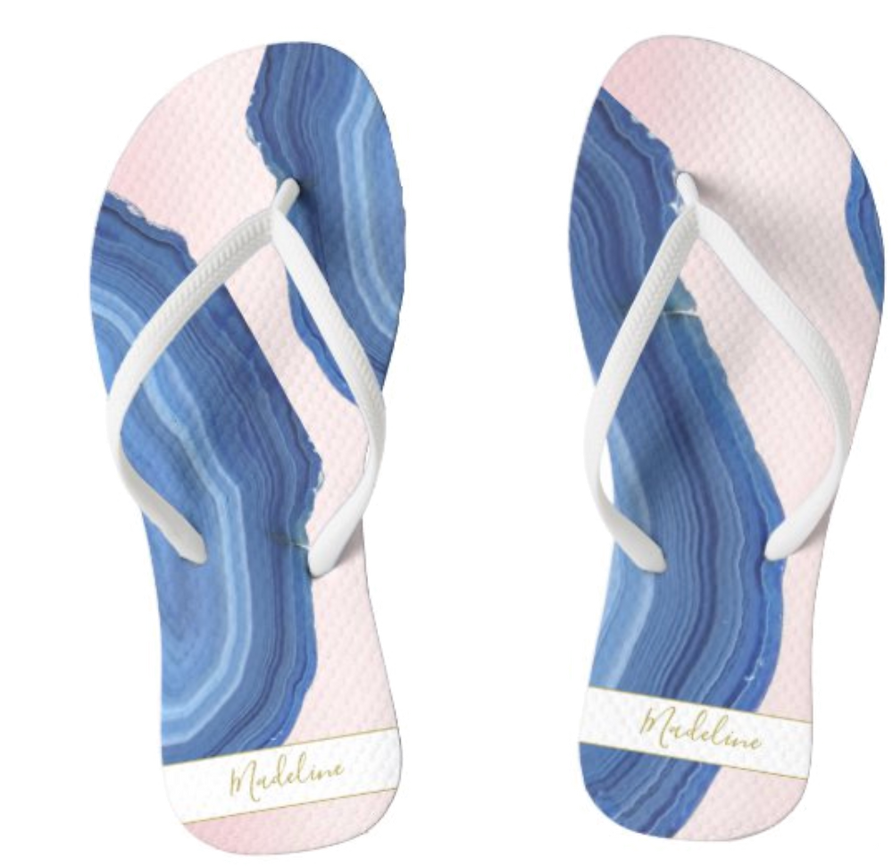 flip flops sandals personal name blue and pink agate mineral rock