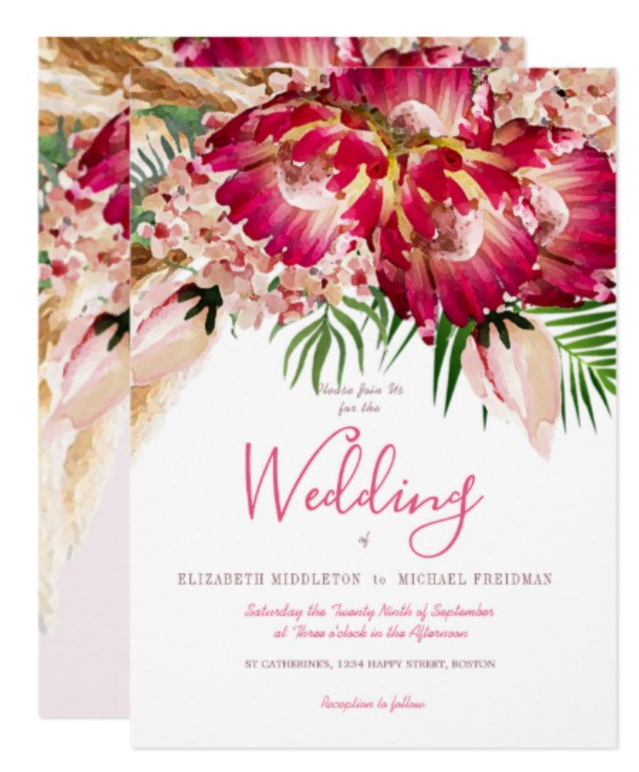 christmas wedding pampas grass and protea custom invitation
