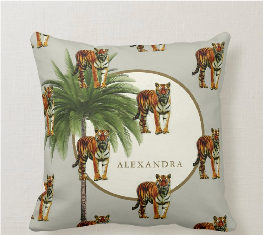Palm tree  tigers custom british colonial style  throw pillow zazzle made