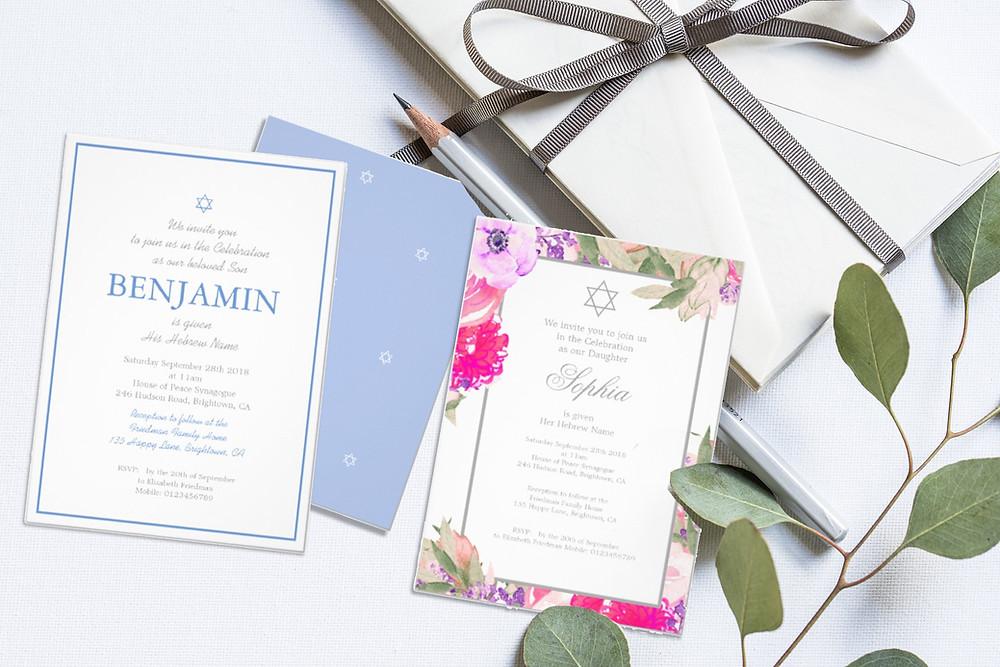 jewish baby naming custom invitations zazzle