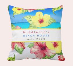Tropical Flower Beach House Personal Family Throw Pillow