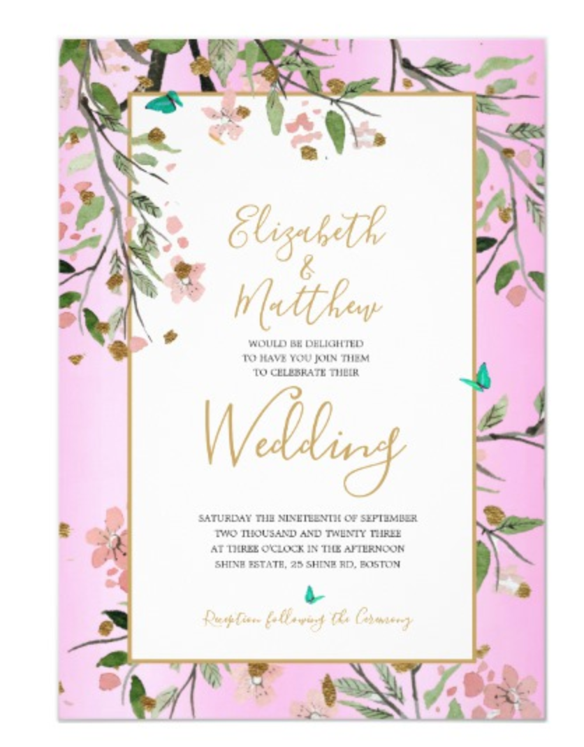 Custom Wedding Invitation Floral Chic Elegant Pink Gold Chinoiserie
