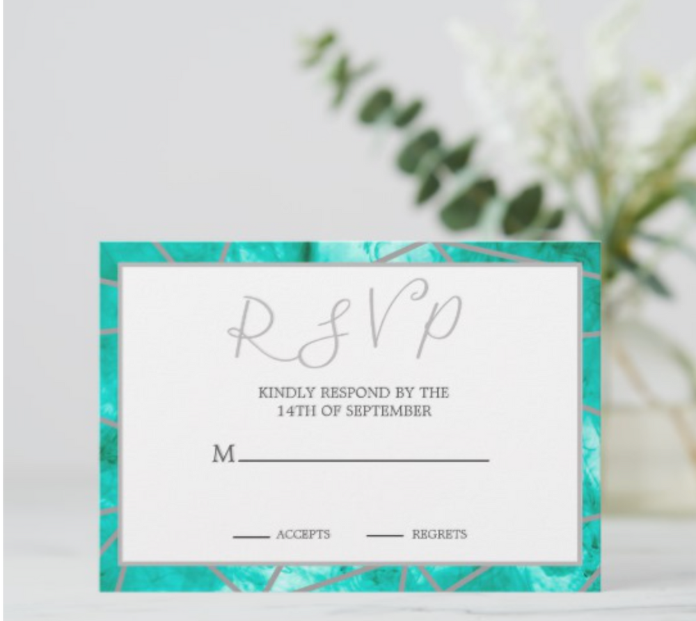 Custom Wedding RSVP aqua blue silver geometric