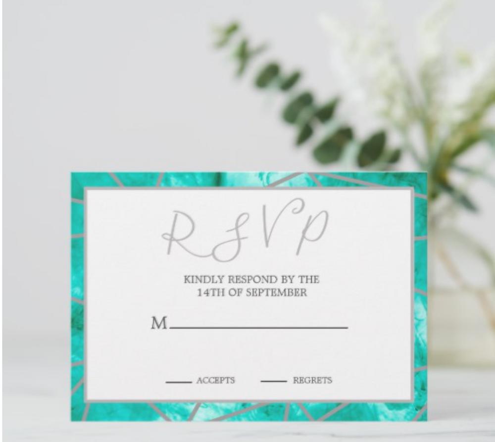 custom wedding ,  blue or teal geometric summer wedding