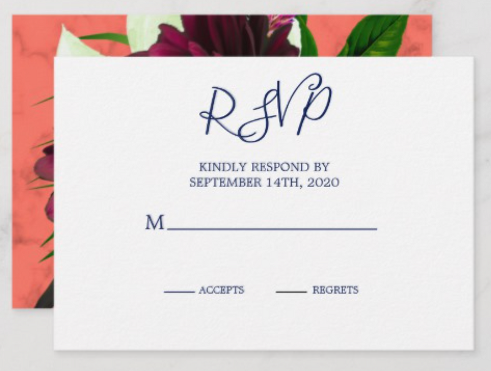 Custom Wedding RSVP Modern Coral