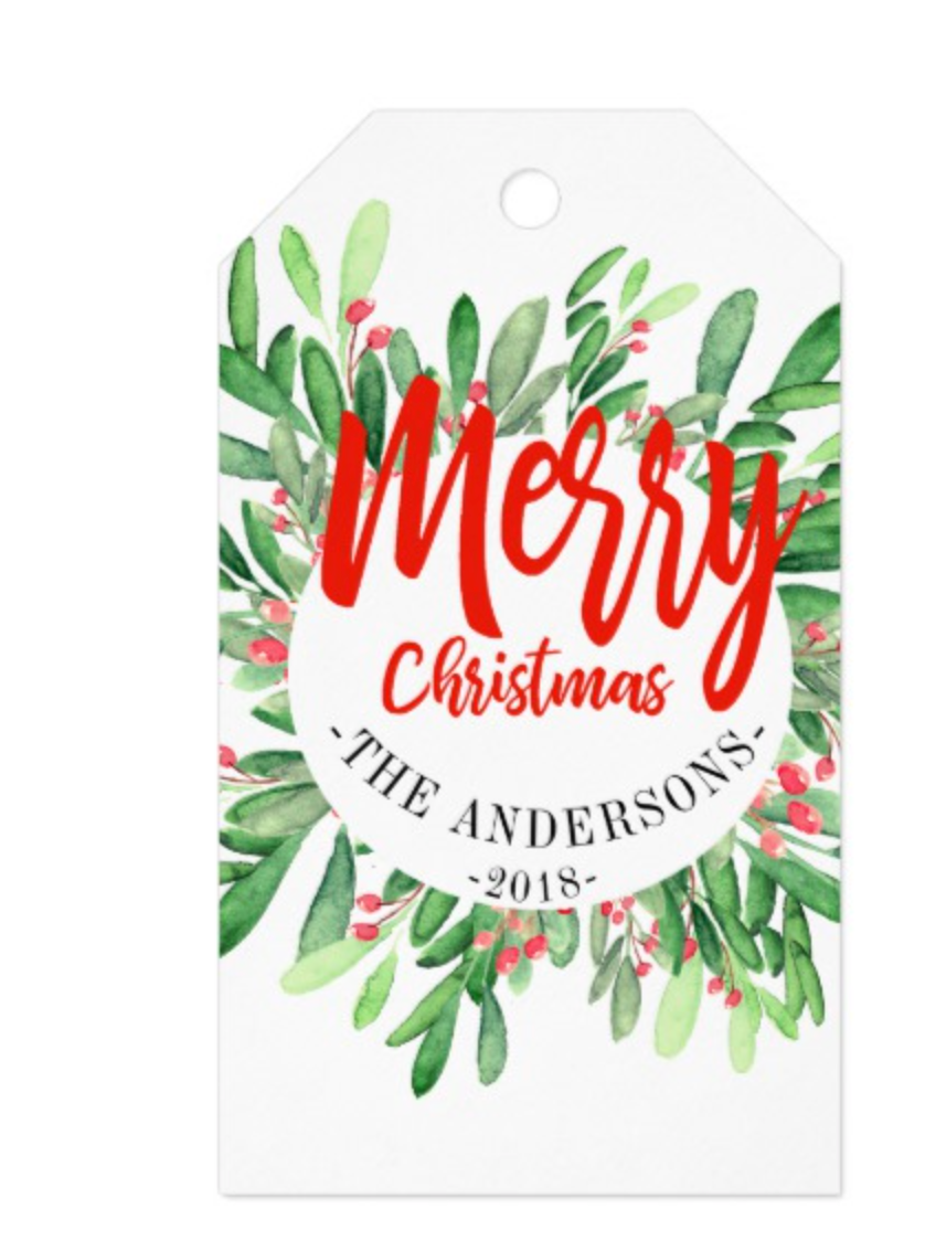Holly wreath Christmas Gift Tags