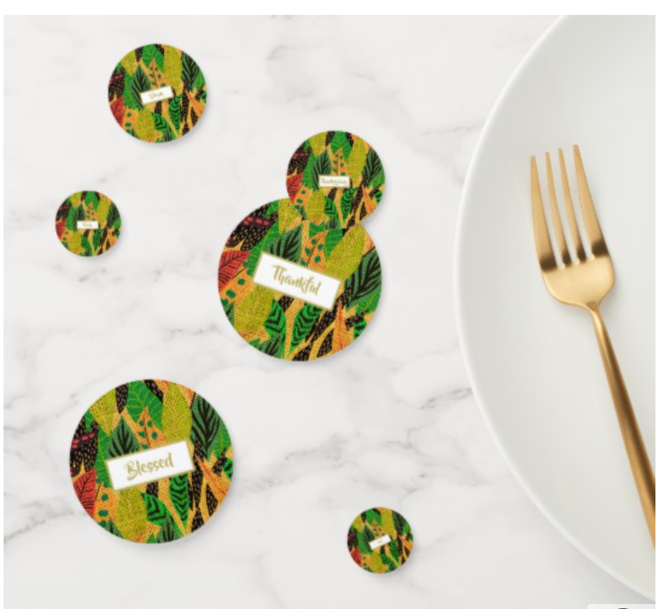Thanksgiving dinner rustic custom tablescape  table confetti