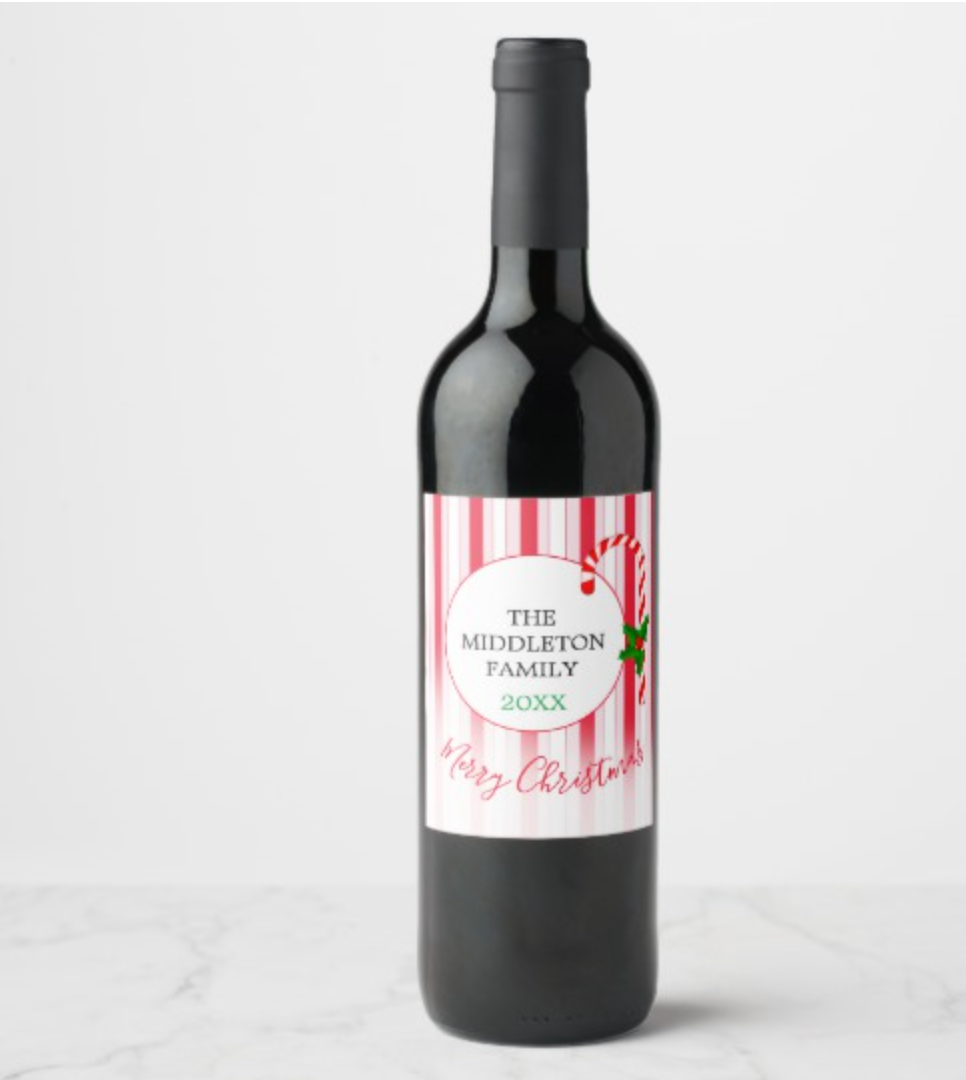 Christmas Holiday Red Candy Stripe Holly Pattern Wine Label by Just_Fine_Designs