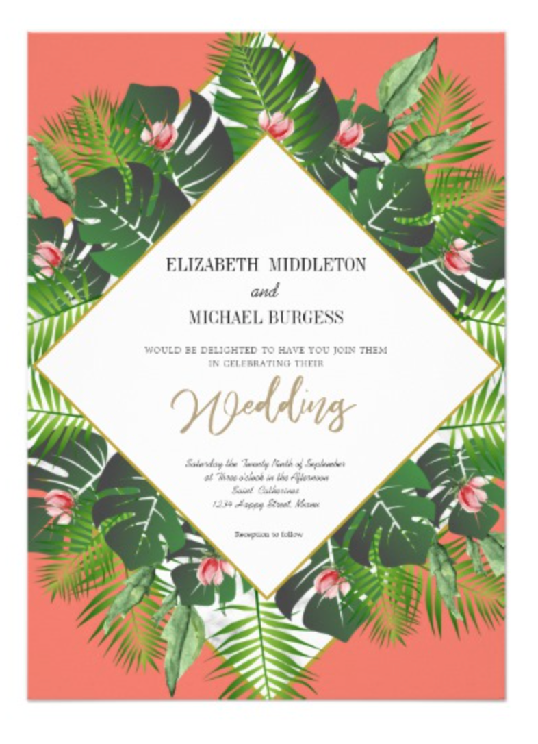 Wedding Coral Green Foliage Modern Elegant Invitation