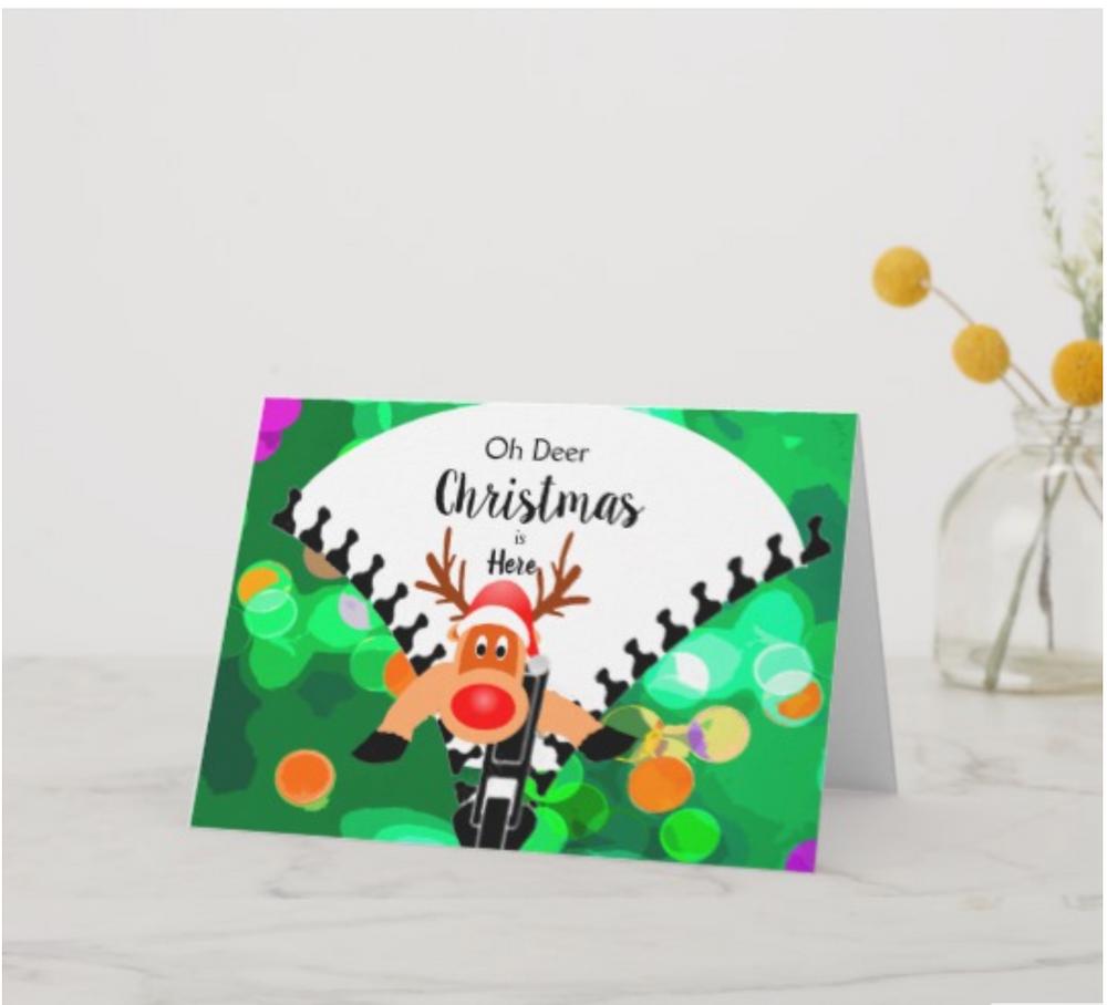 custom christmas cards funny christmas Oh Deer Christmas is here  reindeer
