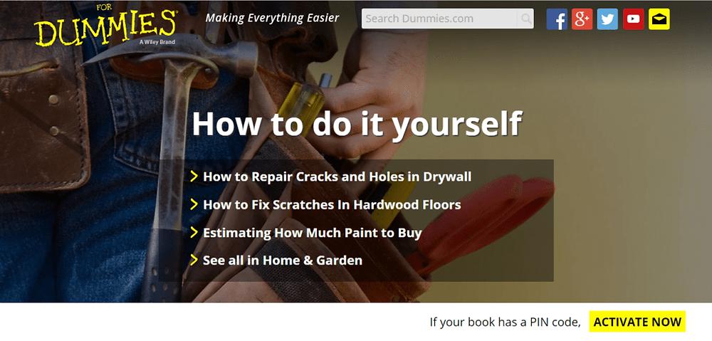 Dummies Website screenshot