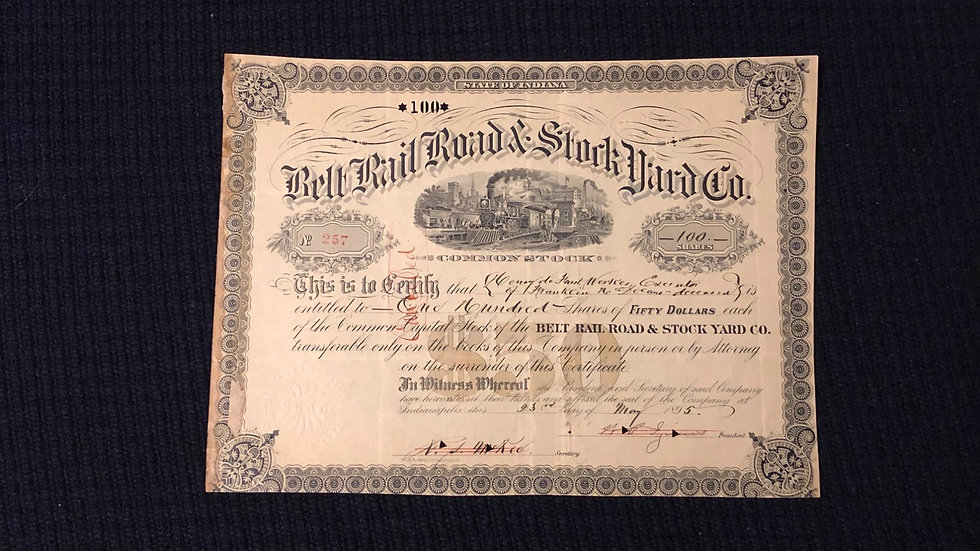 1895 Rail Road Stock from Indiana