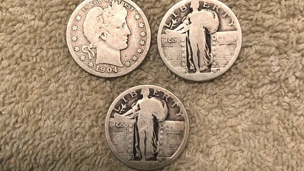 3 silver quarters 1 Barber and 2 Standing Liberty