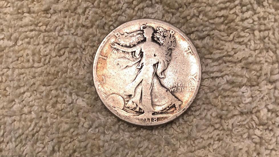 1918-S walking liberty half dollar - includes shipping