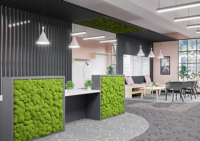 Moss Reception desk innerspace