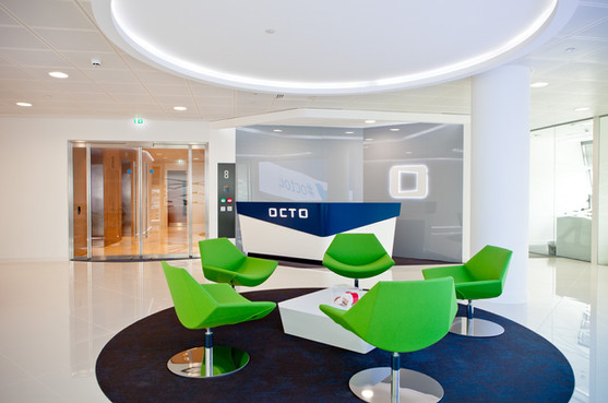 Reception Desk finished in 30% Gloss White Laquer and Pantone Blue Lacquer overhanging feature panel