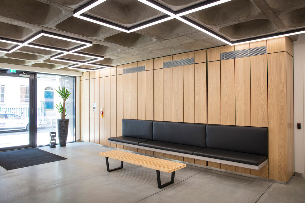 Concrete reception leather upholstered cantilevered seating