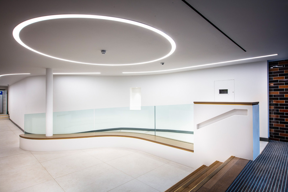 Hi-Macs Curved wall and recessed handrail
