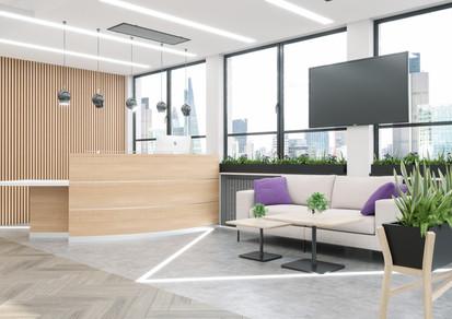 Reception Desk finished in Sand Lyon Ash and Premium White Laminate