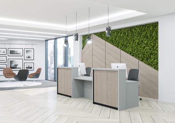 Stave Oak slates Reception Desk Egger Laminate