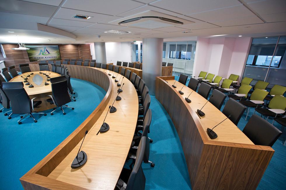 Bespoke chamber desks finished in American Black Walnut and Oak veneer