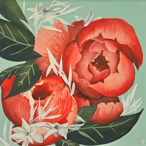 Pround Peonies Print on Canvas